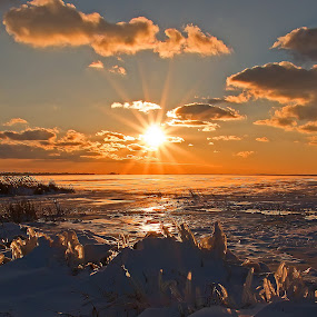 Sunset over a frozen Wild Fowl Bay by Bill Diller - Landscapes Sunsets & Sunrises ( wild fowl bay, michigan, great lakes, sunset, frozen water, lake huron )