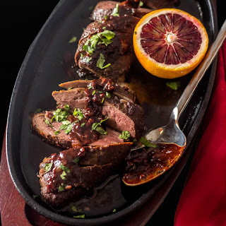 Sous Vide Duck Breasts with Blood Orange Chocolate Sauce.