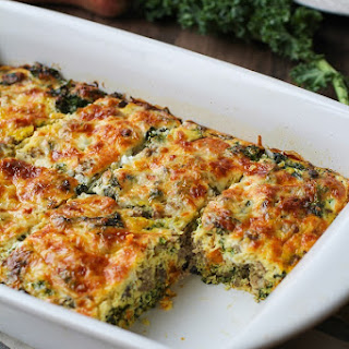 Sweet Potato, Sausage and Kale Breakfast Casserole
