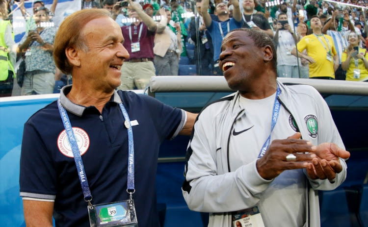 Gernot Rohr, Manager of Nigeria and Yusuf Salisu laugh prior to the 2018 FIFA World Cup Russia group D match between Nigeria and Argentina at Saint Petersburg Stadium on June 26, 2018 in Saint Petersburg, Russia.