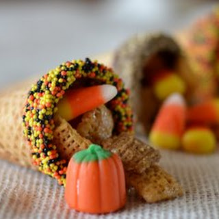 Thanksgiving Chex Mix and Sugar Cone Cornucopias