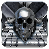 Hell Skull Silver Metal Cool Keyboard