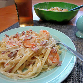 Bacon Shrimp Fettuccine with Asiago PDO Alfredo Sauce.