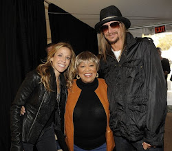"Photo: WASHINGTON, DC - OCTOBER 30: Musician Sheryl Crow (L), singer Mavis Staples, and musician Kid Rock  backstage at the ""Rally to Restore Sanity And/Or Fear"" at the National Mall on October 30, 2010 in Washington, DC. (Photo by Frank Micelotta/Getty Images)"