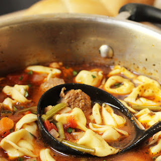 Minestrone Soup with Sausage and Tortellini.