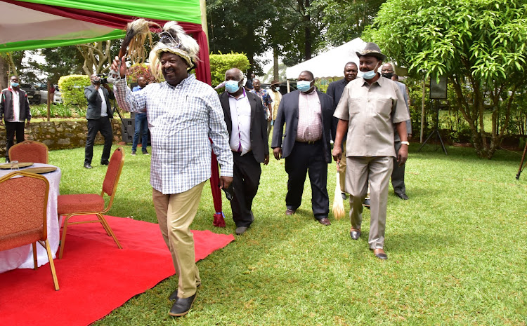 ANC leader Musalia Mudavadi when he hosted a delegation of over 500 Western Kenya elders at his home in Mululu on February 20.