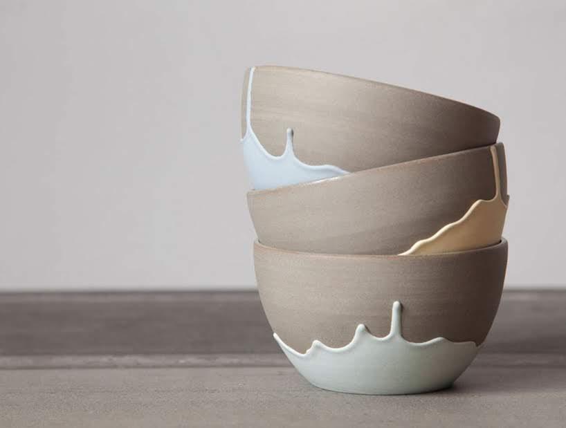 Celine Fafard de Parceline ha creado una colección de gres con patrones únicos de goteo