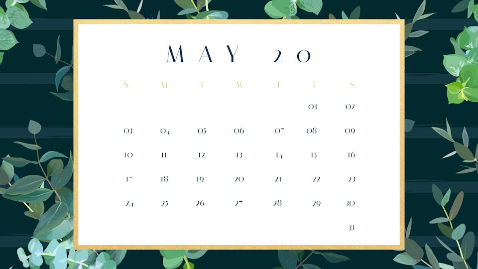 Eucalyptus Monthly - Calendar Template