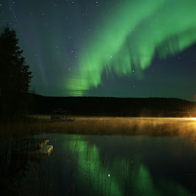 Night light by Elisabeth Johansson - Landscapes Starscapes ( lights, sweden, boden, night photography, greenlight, vision, northern lights, aurora borealis, fotografelisabethjohansson, norbotten, landscape, swedishlapland, skyscape )