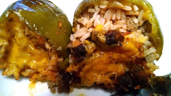 Place peppers carefully into a preheated 350º oven and bake, uncovered for 50-60 minutes...