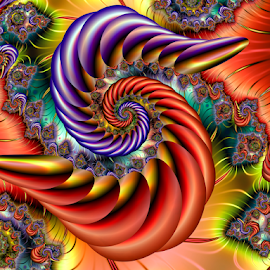 Spiral 58 by Cassy 67 - Illustration Abstract & Patterns ( digital, love, harmony, surreal, abstract art, trippy, abstract, creative, fractals, digital art, psychedelic, modern, light, fractal, style, energy, fashion )