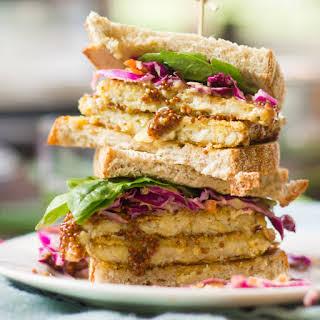 Crispy Maple-Dijon Tempeh Sandwiches.