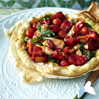 Salmon, Tomato and Pesto Tart