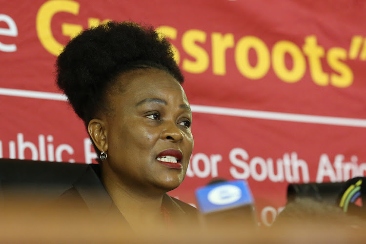 Public protector Busisiwe Mkhwebane delivers a report on July 19 2019 on allegations that President Cyril Ramaphosa had misled parliament and acted in violation of the provisions of the executive ethics code.