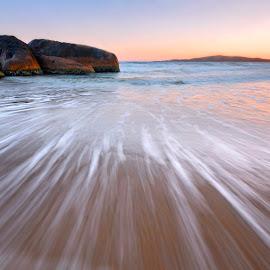 The Splash by Geoffrey Wols - Landscapes Beaches ( south west rocks, dawn, splash, sunset, sunrise, beach, rocks, whitewater,  )