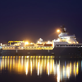 Offshore ship in Esbjerg harbour by Per Holt Oksen-Larsen - Transportation Boats ( ship at night,  )