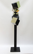 Photo: 24 REFLECTIONS AND A VOID - 58H X 27W X 12D Polished Stainless Steel, Painted Mild Steel, L Side View