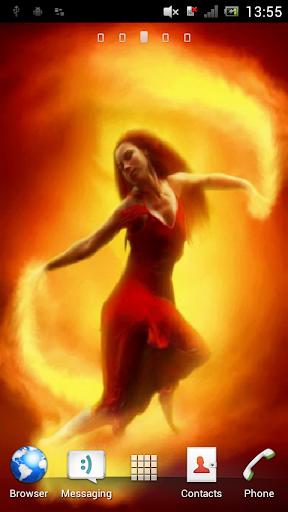 Girl on fire Live Wallpaper