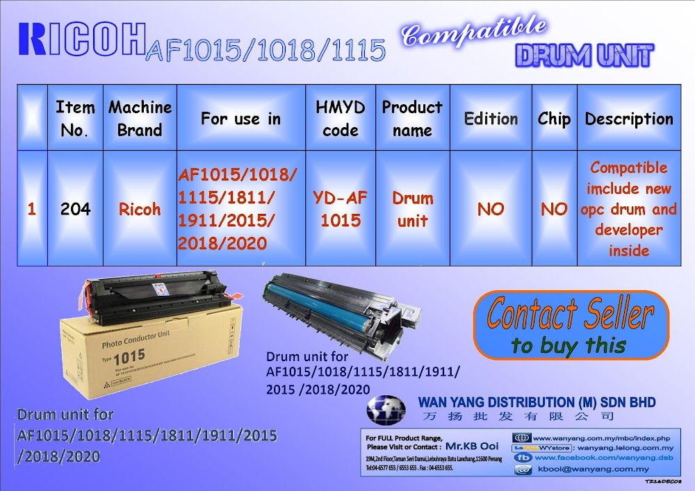 Ricoh AF1015/1018/1115 etc.Compatible Drum Units