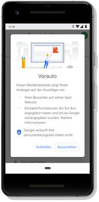 Display eines Mobilgeräts, auf dem die Funktion zum Aktivieren oder Deaktivieren von Anzeigen zu sehen ist