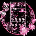 Pink Black Flowers Theme icon