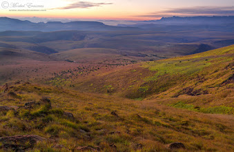 """Photo: """"Diagonals"""" Maluti Mountain Vista Golden Gate Highlands National Park, South Africa  As we go into the last 2 weeks before our son arrives (we have an 18-month old daughter as well), I start to reflect on the road life has taken us on. This is a fitting image for contemplation and a feeling of serenity. It was taken last year one morning overlooking the Maluti Mountains (part of the Greater Drakensberg range). You can see the famous Amphitheatre from the side-on in the distance.  So here's one I'd like some straight-shooting opinions on. At the time I wanted to shoot this pre-sunrise scene over the rolling Maluti mountains to show the vestiges of the more """"foreboding"""" Drakensberg peaks at the back, and I quite like the diagonal lines leading you in. I'm starting to debate my own choice of foreground elements these days - it feels like I'm often choosing a """"too strong"""" foreground anchor (if there is such a thing :lol: )...what I mean is that sometimes the scene needs to get the attention, and placing a prominent rock or bush or tree in the immediate foreground then """"robs"""" the real vista of some of the attention.  What do you think?  Remember that tomorrow is African Tuesday again - this week's theme is Stormy Skies. Submit your images of rainy/stormy weather in Africa to the theme by tagging: #AfricanTuesday """"Stormy Skies"""" and tagging myself, +Johan Swanepoel(my co-curator) and the +African Tuesdaytheme page. We are looking forward to your images!  www.morkelerasmus.com  Submission for: 1. #mountainmonday (+Mountain Monday) by +Michael Russell 2. #landscapephotography (+Landscape Photography) by +Margaret Tompkins+Ke Zeng+paul t beardet al 3. #leadinglinesmonday (+Leading Lines Monday) by +Pam Chalkley+Michael Stuart+Elle Rogers&+David Murphy 4. #hqsppromotion (+HQSPPromotion) 5. #plusphotoextract  6. #naturemonday (+NatureMonday) by +Kate Church& +Rolf Hicker 7. #moodymonday (+Moody Monday) by +Philip Daly & +Carole Buckwalter  #mountains  #landscape  #Passio"""
