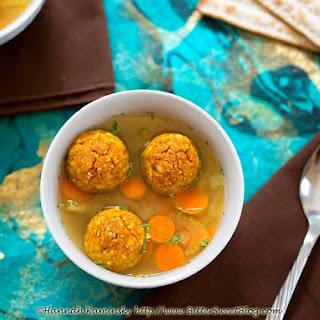 Pumpkin Matzo Dumpling Soup