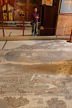 Photo: Serene looking at the Madaba map in the church of St George
