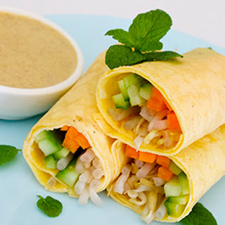 Egg Paper Rolls with Nut Satay Dipping Sauce
