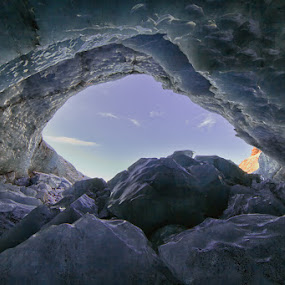 Ice cave in Iceland by Tim Vollmer - Landscapes Caves & Formations ( ice cave, iceland, sky, blue ice, ice, ice rocks, cave )