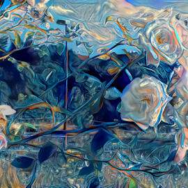 Roses abstract by Cassy 67 - Digital Art Abstract ( digital, love, harmony, flowers, abstract art, photomanipulation, photoshop, abstract, digital art, light, rose, deep dream, photography, energy )