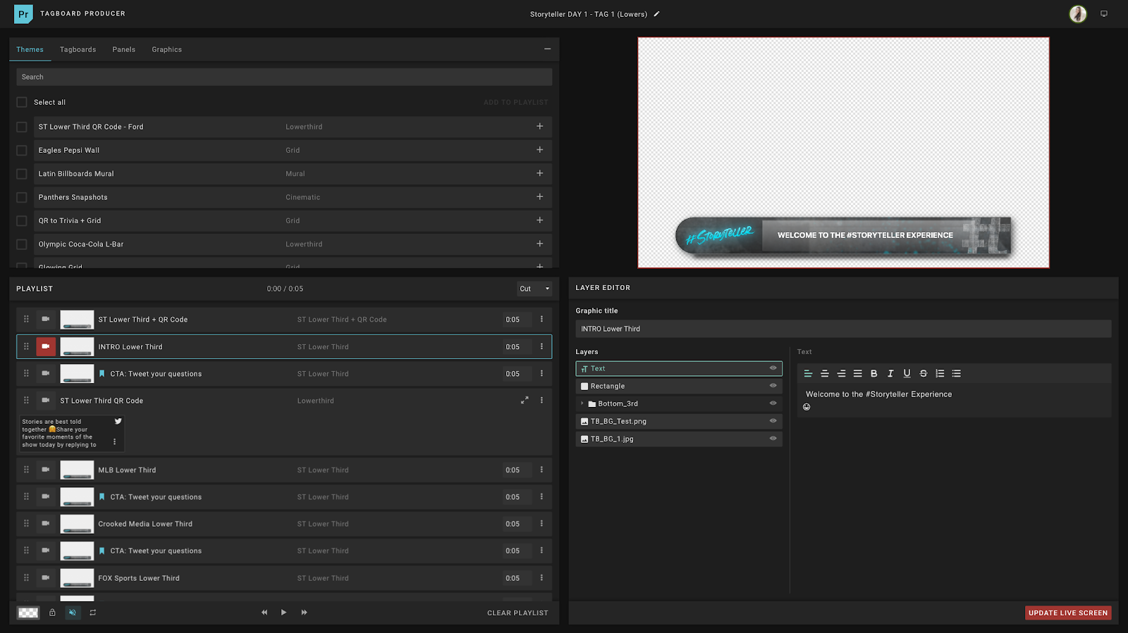 Tagboard Producer timeline and inline editor