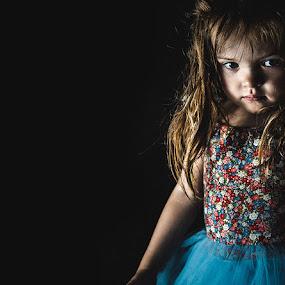 Party Dress by Kelly Hulme - People Family ( girl, low key, dark, children, kids portrait )