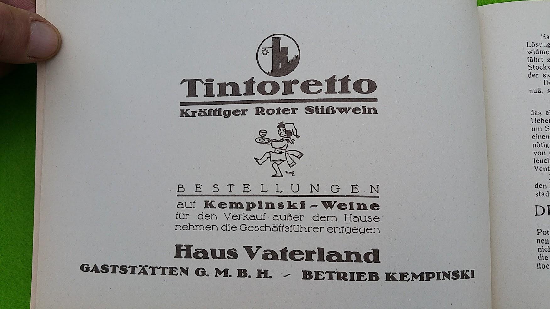 Begleitheft zur Eröffnung von Haus Vaterland am Potsdamer Platz, Berlin, 31. August 1928 - Tintoretto Wein