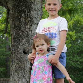 BROTHER AND BABY SISTER by Mike Zegelien - Babies & Children Child Portraits ( outdoors, girl, portrait, brother, boy, sister )