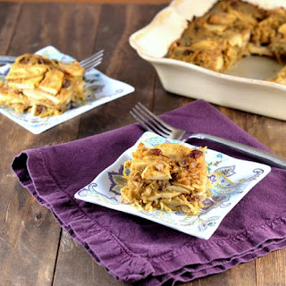 Sweet Spaghetti Squash Kugel with Apples and Raisins.