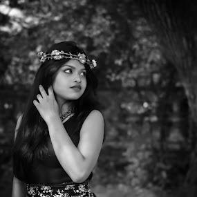 girl** by Anuruddha Das - People Portraits of Women ( girl, tree, black and white, shoot, crown, outdoor, garden,  )