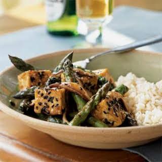 Sesame Tofu Stir-Fry over Rice.