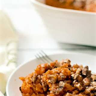Bourbon Sweet Potato Casserole with Buttery Pecans Recipe
