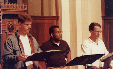 Photo: Nov. 1994: Rollins College; Mannerist Mania concert performed for the statewide American Choral Directors Association. Rehearsal: Tom Barnes, Jeff Ames, David Childs.