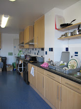 Photo: Communal kitchen in one of the student flats (5 or so students share a flat. Each ave their own room and bathroom, and then all share this kitchen and living room
