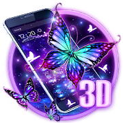3D Purple Butterfly Theme