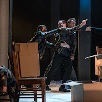 Andrea Ludwig (Lyuba), Neil Craighead (Dima), Keith Klassen (Konstantin), and Adam Fisher (Father Alexander) in Oksana G., Tapestry Opera, 2017. Photo: Dahla Katz.