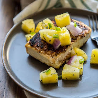 Pan Seared Halibut Recipe with Pineapple Salsa.