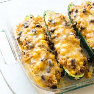 Quinoa & Black Bean Enchilada Stuffed Zucchinis