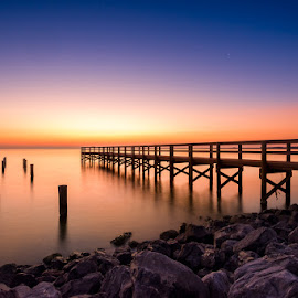 Smooth Sunrise by RomanDA Photography - Landscapes Waterscapes ( clouds, reflection, sky, gulf, bereeze, pier, owater, sunrise )