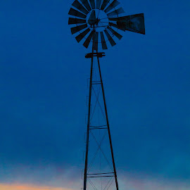 Where Time Stands Still by Brian  Shoemaker  - Artistic Objects Industrial Objects ( sky, blue, sunset, windmill, object )