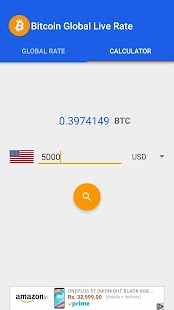 Bitcoin Global Live Rate - náhled