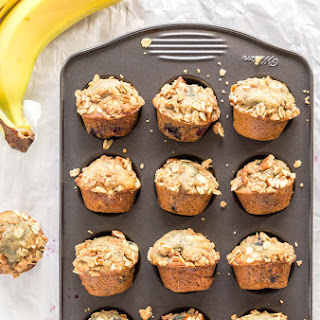 Banana Blueberry Streusel Mini Muffins