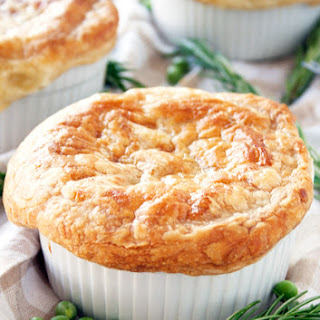 Mini Chicken Pot Pie with Puff Pastry Crust.